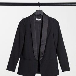Mango tuxedo jacket in black