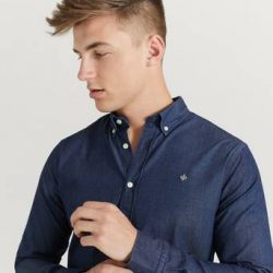 Morris Skjorte Julian Button Down Denim Shirt Blå