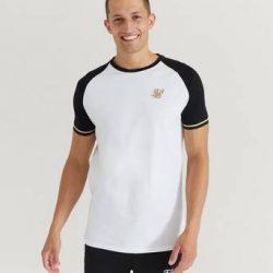 SIKSILK T-Shirt S/S Raglan Inset Cuff Tee Hvit