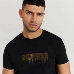 SIKSILK T-shirt Rhinestone Creep Tee Svart