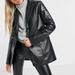Weekday Jaden faux leather blazer in black