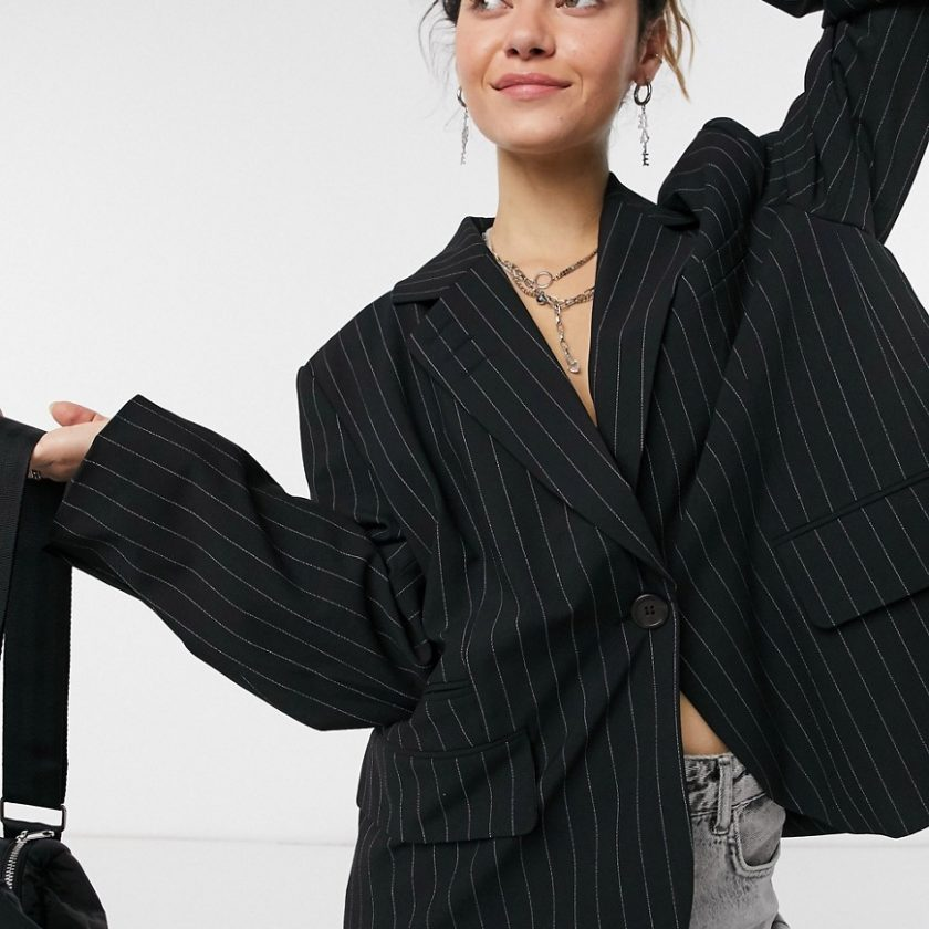 Weekday Siri recycled oversized pinstripe blazer in black