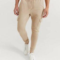 William Baxter Joggers Skinny Cargo Sweatpants Beige