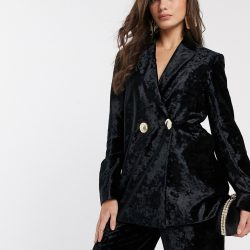& Other Stories crushed velvet double breasted blazer in black
