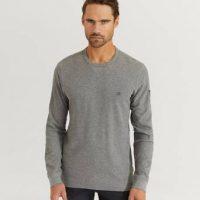 Calvin Klein Genser Waffle Longsleeve Sweater Grå