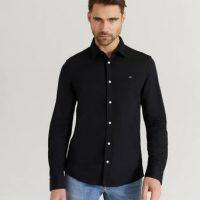 Calvin Klein Skjorte Slim Fit Knitted Shirt Svart