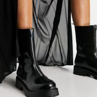 Monki Elaine vegan leather chucky zip up boot in black