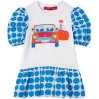 Agatha Ruiz de la Prada Polkadot Print Car Kjole Blå 4 år
