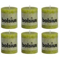 Bolsius Rustikke søylelys 6 stk 80x68 mm mosegrønn