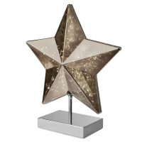 Bordlampe Stella i stjerneform, høyde 34 cm, smoke