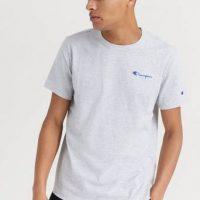 Champion Reverse Weave T-SHIRT Smal Script Crewneck T-shirt Grå