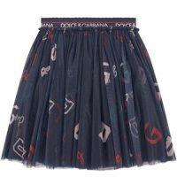 Dolce & Gabbana Branded Print Tulle Skirt Navy 8 år