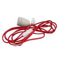 E27-fatning Glaze med kabel, rød og hvit