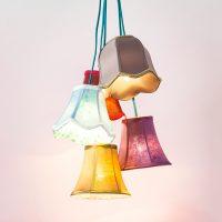 Kare Saloon Flowers design-hengelampe, 5 lys