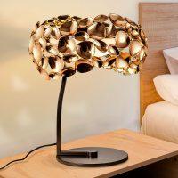 LED-bordlampe Narisa, rosegull/brun