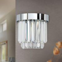 LED-vegglampe Prisme med up- & downlight, krom