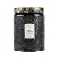 Large Embossed Glass Jar Candle - Moso Bamboo Duftlys