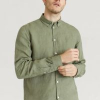Les Deux Skjorte Christoph Linen Shirt Grønn