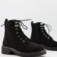 London Rebel lace up ankle boots in black