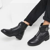 London rebel chunky chelsea ankle boots-Black
