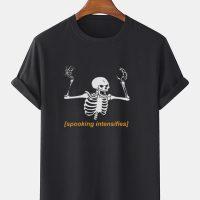 Mens 100% Cotton Halloween Skeleton Letter Print O-Neck Short Sleeve T-Shirts