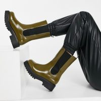 Monki Maddie faux leather chunky sole boot in brown
