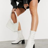 Monki Rooney faux leather heeled boots in white