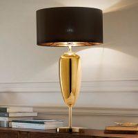 Show Ogiva - tekstil-bordlampe i svart og gull