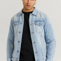 William Baxter Jeansjakke Destroyed Denim Jacket Blå