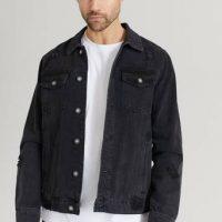 William Baxter Jeansjakke Destroyed Denim Jacket Svart