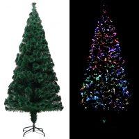 vidaXL Kunstig juletre med stativ grønn 180 cm fiberoptikk