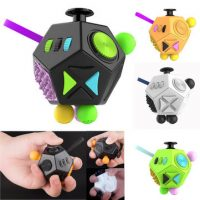 12-Side Fidget Cube Toy Anxiety Stress Attention Relief Puzzle Adult Kids Black Stress Reliever
