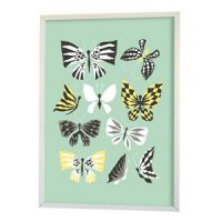Littlephant Poster, Butterfly Family, Aqua One Size