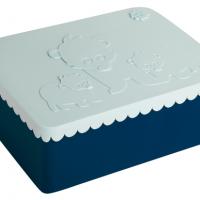 Matboks i plast treroms Bjørn: Lys blå/marineblå