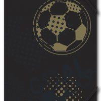 Strikkmappe A4 Fotball sort/gull