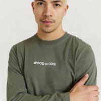 Wood Wood Langermet T-shirt Peter Logo Long Sleeve Grønn