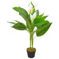 vidaXL Kunstig plante flamingoblomst med potte hvit 90 cm