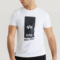 Alpha Industries T-shirt Block Logo T Hvit
