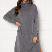 Blue Vanilla Knitted Roll Neck Dress Grey S/M