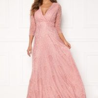 Chiara Forthi Riveria Lace Gown Dusty pink 42