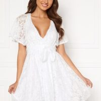 Goddiva Flutter Lace Skater Dress White L (UK14)
