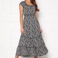 Happy Holly Jemma flounce dress Black / Light beige 52/54