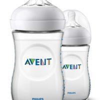 Philips Avent Natural Tåteflaske 260ml inkl. Slow Flow Flaskesmokk 2pack