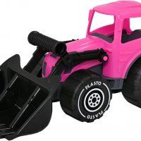 Plasto Traktor Med Frontlaster, Rosa/Svart
