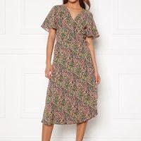 VILA Lovie S/S Wrap Midi Dress Black Vinta 34