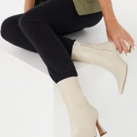 & Other Stories leather heeled boots in beige