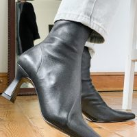 & Other Stories leather sock boot with sculpted heel in black