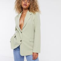& Other Stories linen single breasted blazer in dusty green-Black