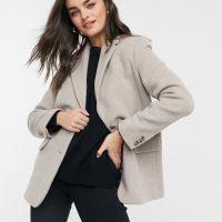& Other Stories oversized wool blazer in beige-Neutral