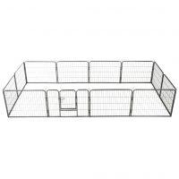 vidaXL Hundegrind 12 paneler stål 80x60 cm svart